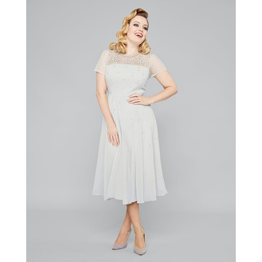 Maia soft grey embellished dress vintage dresses lindy for Lindy bop wedding dress
