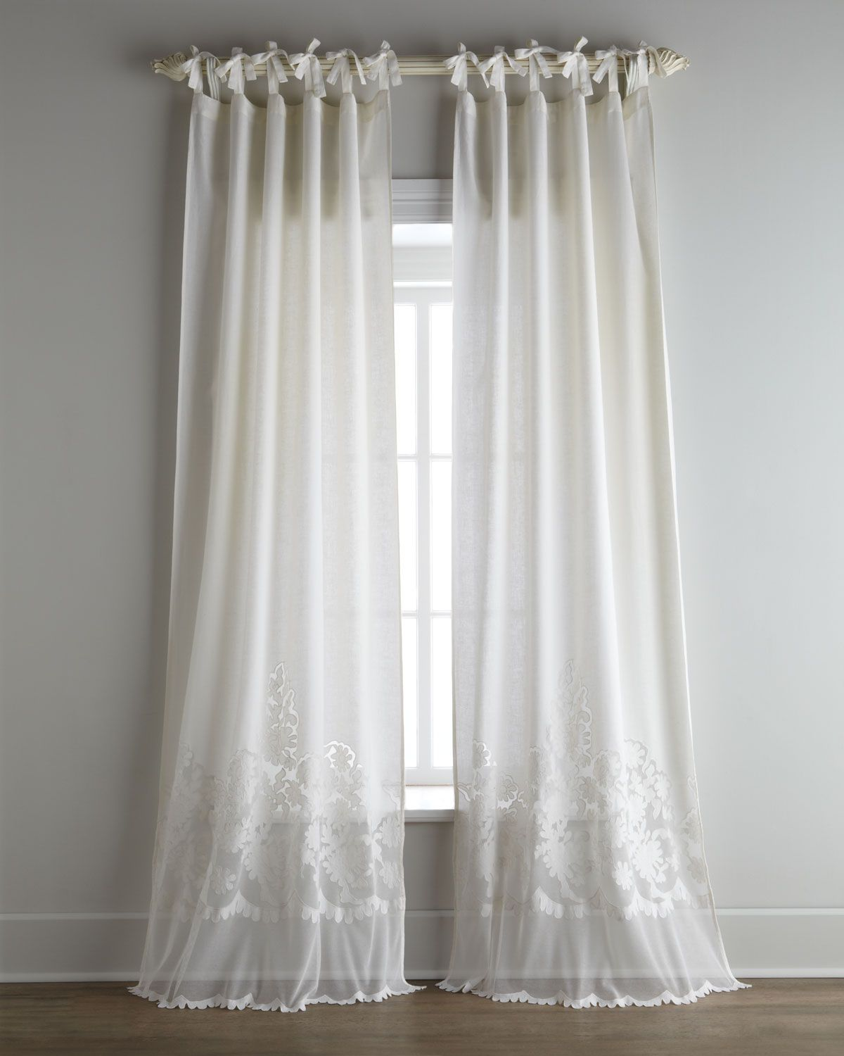 Each Caprice Tie Top Curtain Pearl Ivory Pom Pom At