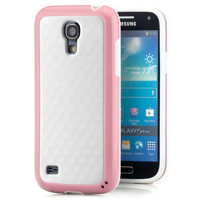 Cubes Back Cover für Samsung Galaxy S4 Mini WeißRosa