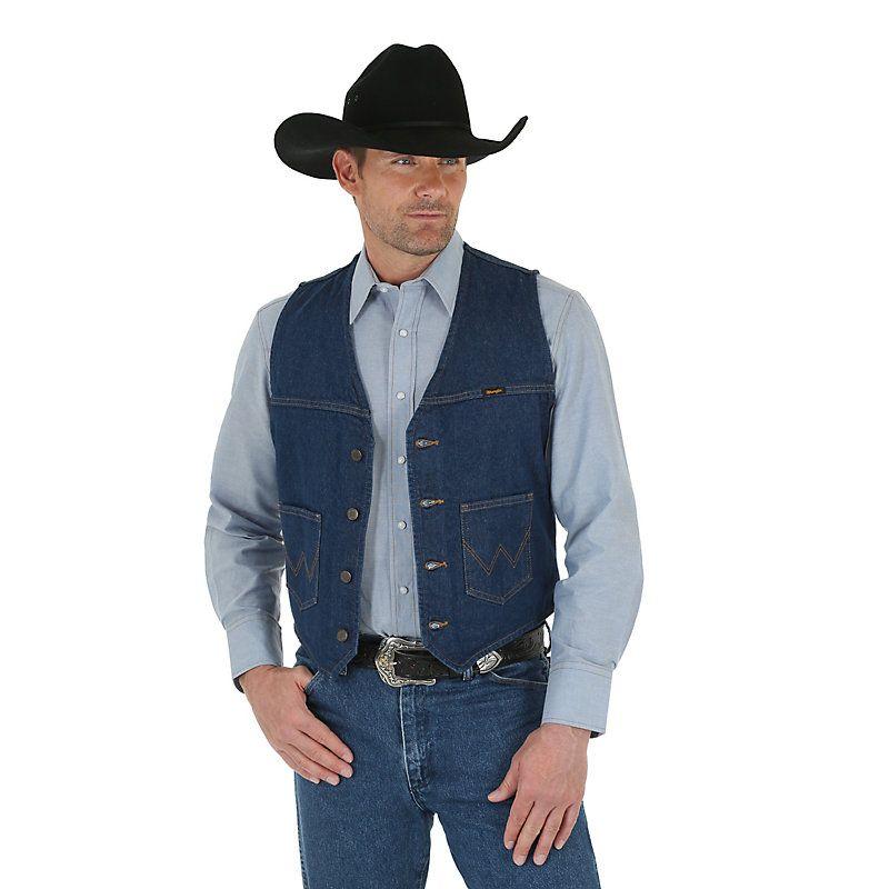 Wrangler Men's Unlined Denim Vest (Size: Medium) Blue