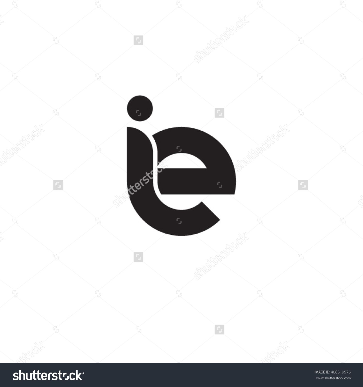 Initial Letter Ie Linked Rounded Lowercase Monogram Logo Black