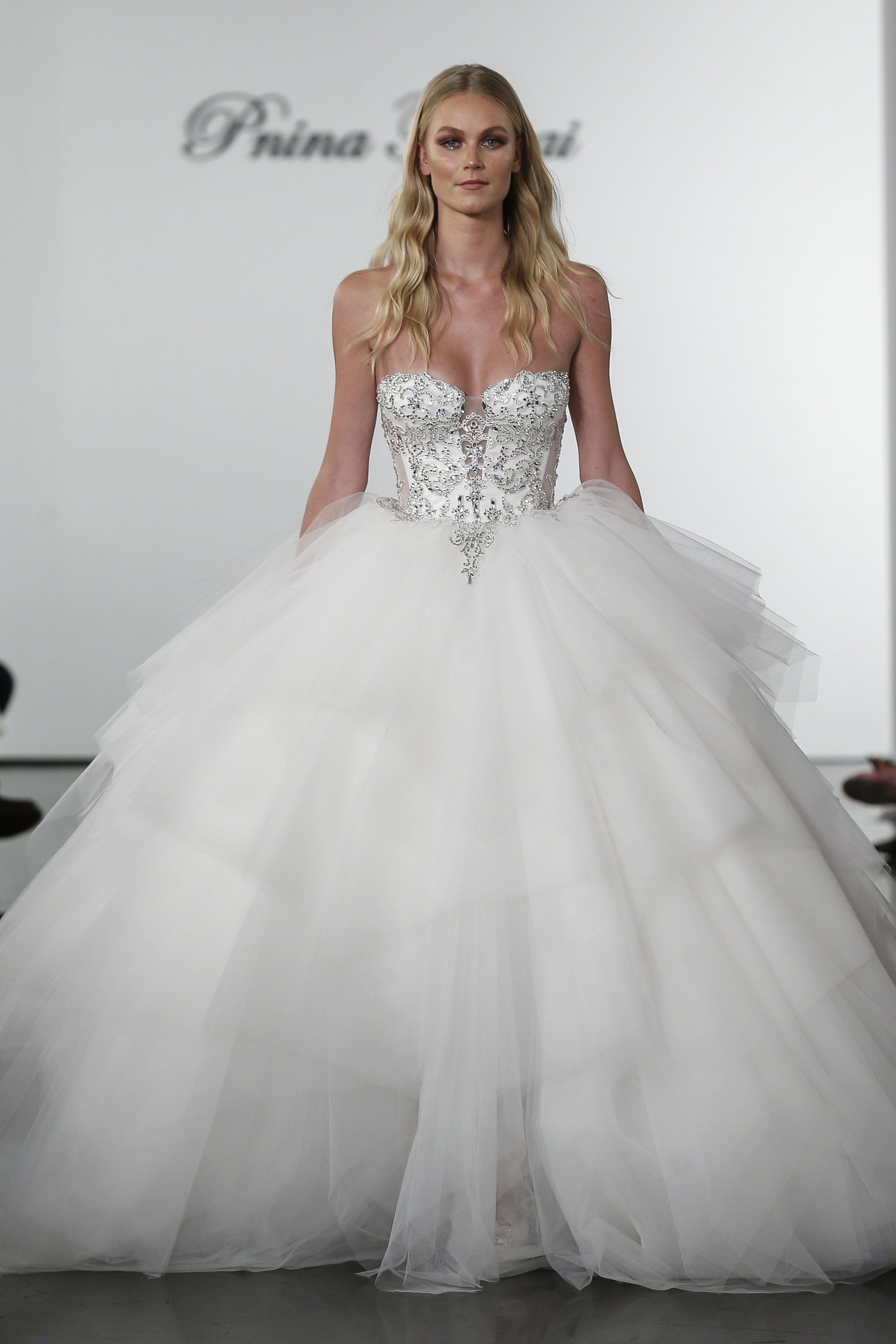 Layered Tulle Ball Gown Wedding Dress With Crystal Embellished