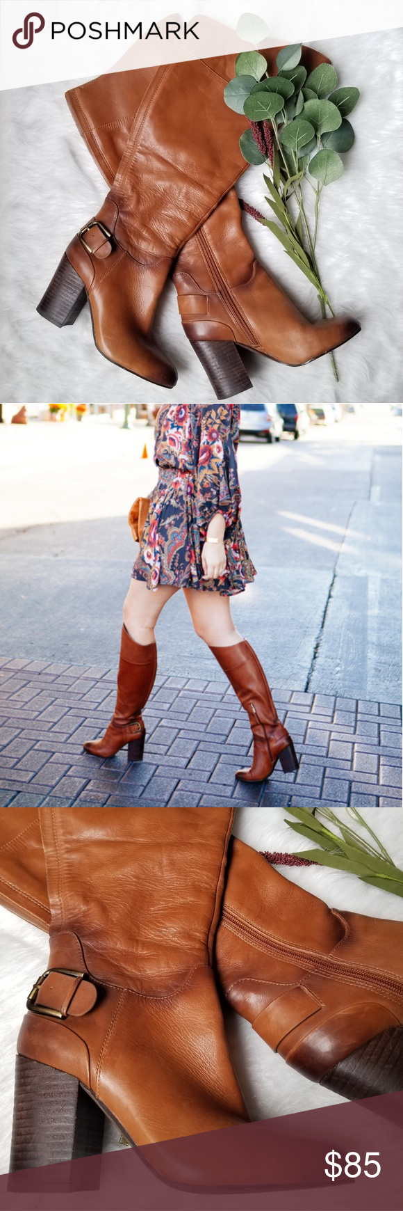 6a3a8a6061a79 Vince Camuto Sidney Tall Leather Stacked Heel Boot Vince Camuto Sodney Tall  boot in brown is