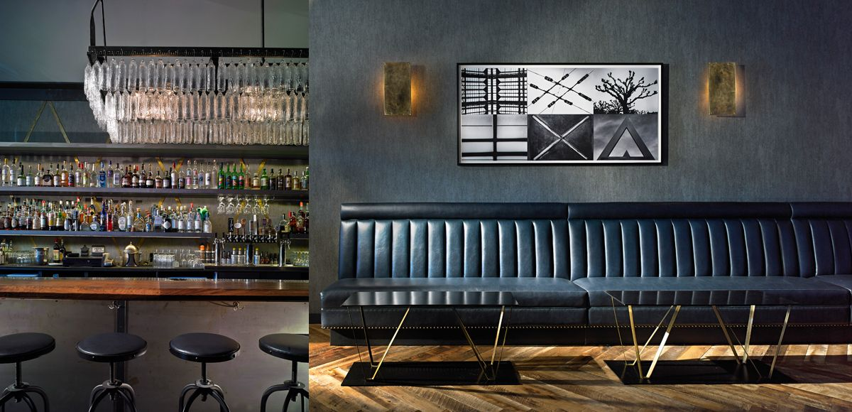 black leather banquette with brass accents | Material ...