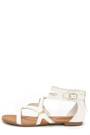 75054c13621bc Ruby 31 White and Gold Gladiator Sandals at LuLus.com!