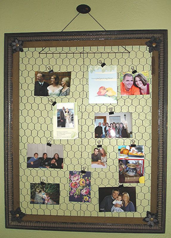 Old frame + chicken wire = a great memo board that fits into any ...