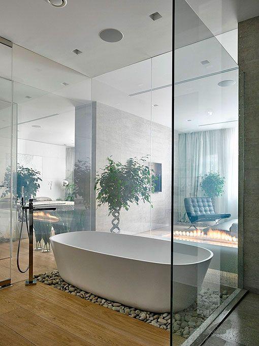 Soluzioni per il bagno aperto in camera da letto http://www.repiuweb ...