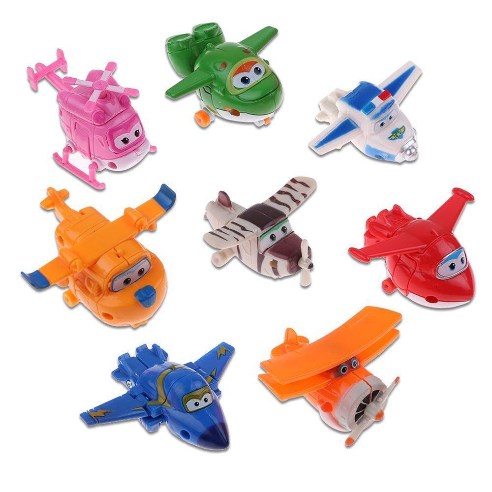 8Pcs Super Wings TV Transforming Animation Air-Planes Mini Kids Toy Xmas Gift
