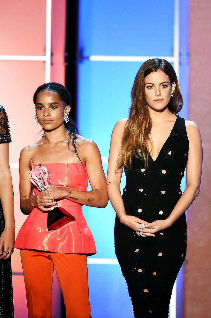 "soph-okonedo: ""  Zoe Kravitz and Riley Keough accept the Best Action Movie award for 'Mad Max: Fury Road' onstage during the 21st Annual Critics' Choice Awards at Barker Hangar on January 17, 2016 in Santa Monica, California """