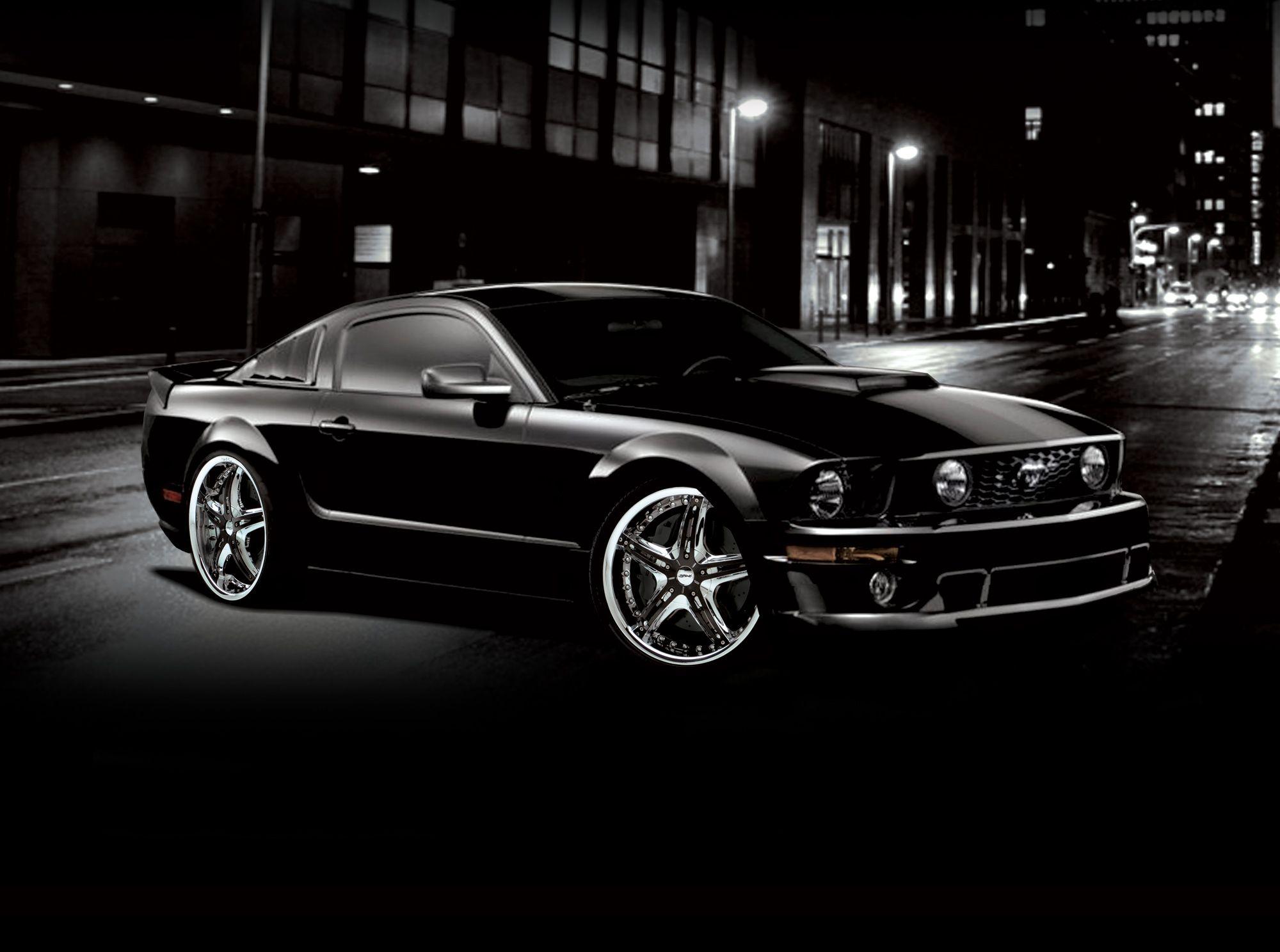 Black Mustang with D'vinci Wheels Dream car garage