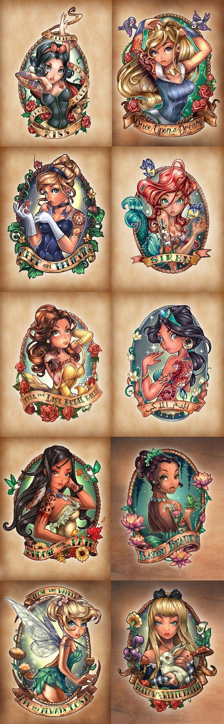 Disney Princesses as fierce vintage tattooed Pin-Ups - Disney tattoo ...