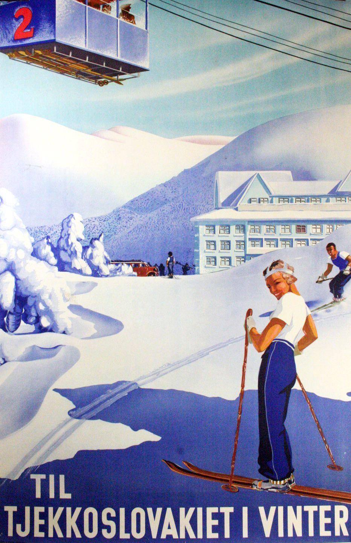 Czech Winter Travel Poster Circa 1930s Vintage Ski Posters Vintage Ski Ski Posters