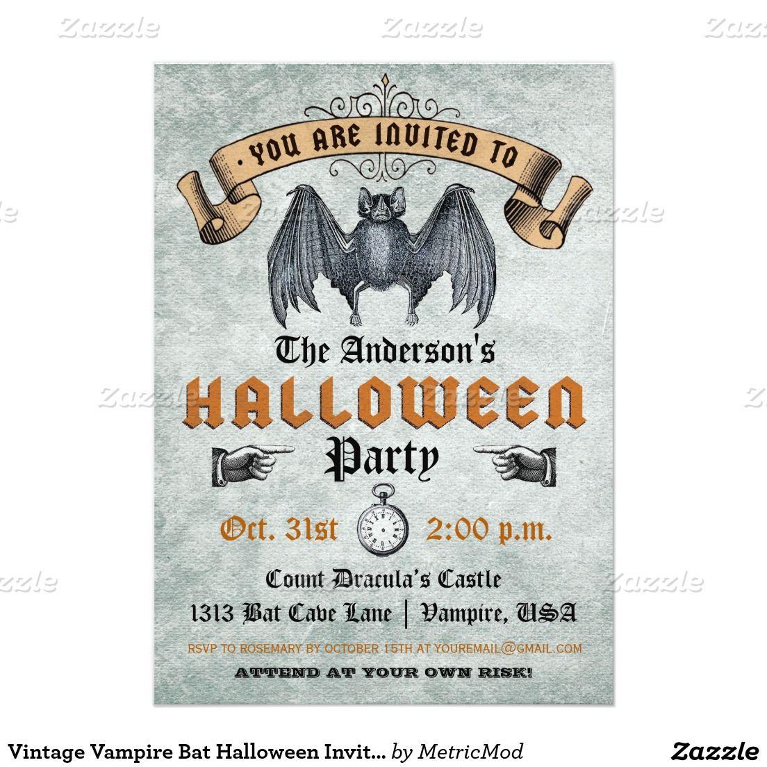 Vintage vampire bat halloween invitation halloween invitations vintage vampire bat halloween invitation stopboris Images