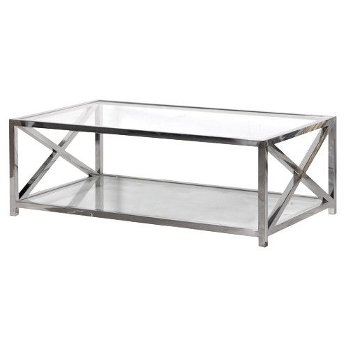Boston Solid Stainless Steel & Glass Criss Cross Coffee Table