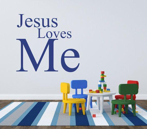 sunday school decal - jesus loves me wall decal - jesus loves me