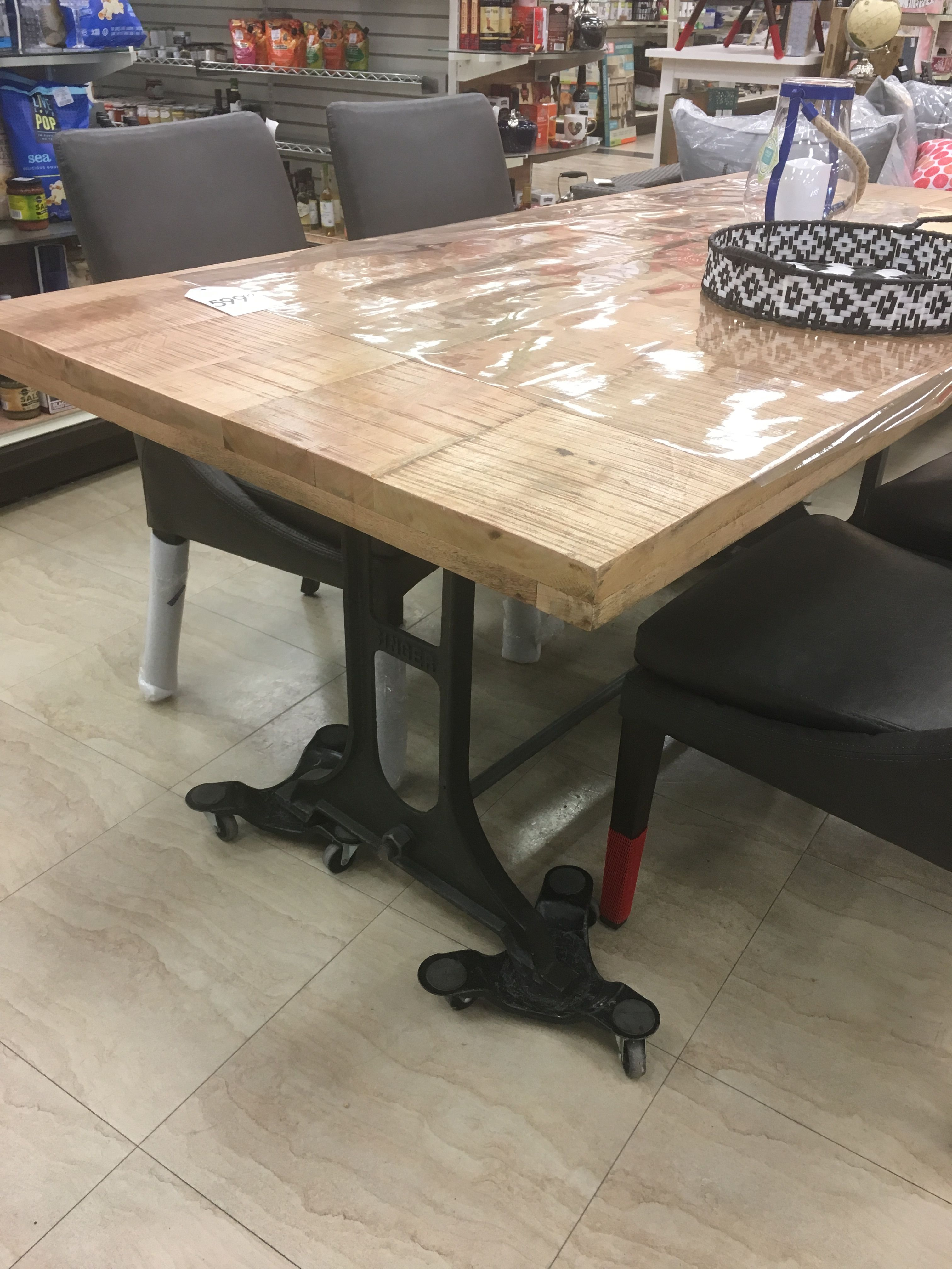 Wood Table With Singer Cast Iron Legs Home Sense 999
