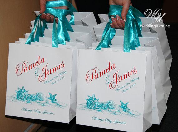 40 Beach Wedding Welcome Bags With Satin Ribbon By WeddingUkraine