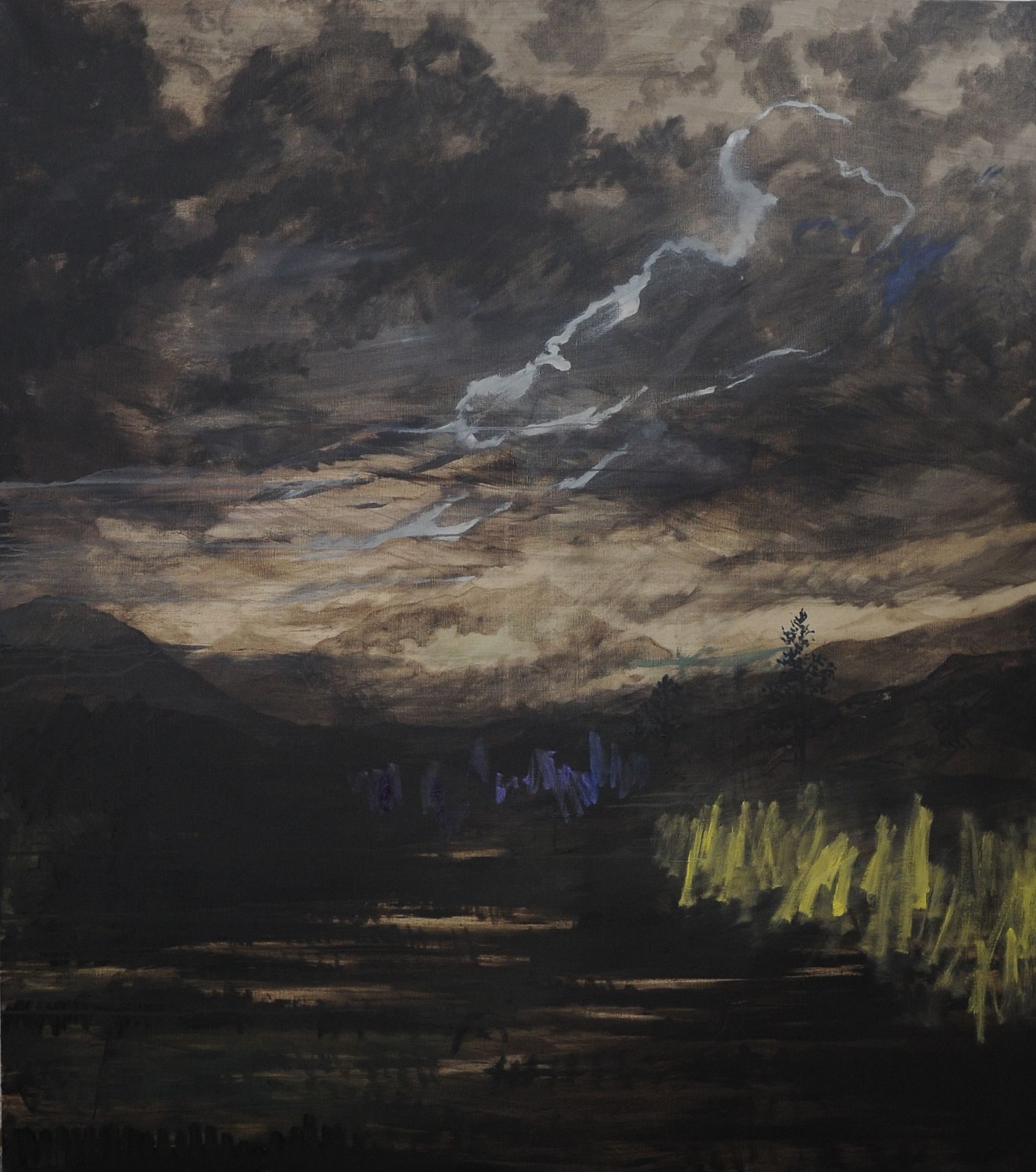 Olivier Masmonteil, Le Paysage Effacé, 2012, Acrylic and oil on canvas, 180 x 160 cm, 3, Courtesy Galerie Dukan
