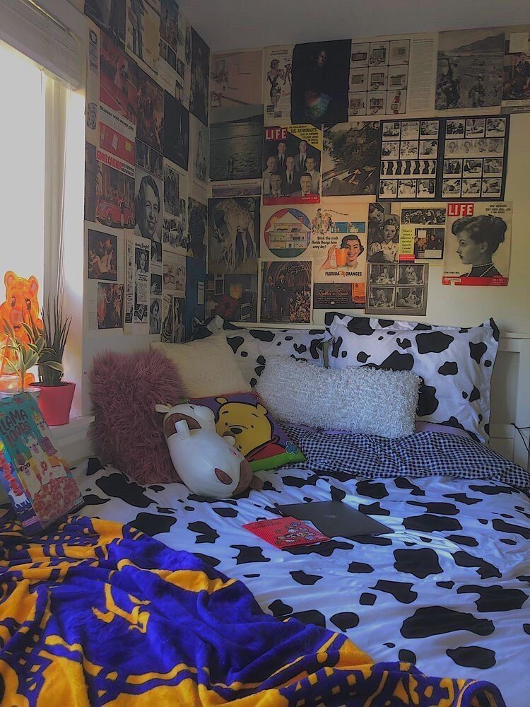 Cow Print In 2020 Indie Room Decor Room Ideas Bedroom Retro Room To save you time, we've rounded up some of the best aesthetic room images on the platform so you can easily adopt some of the decorating tricks in your own kid's space. indie room decor room ideas bedroom
