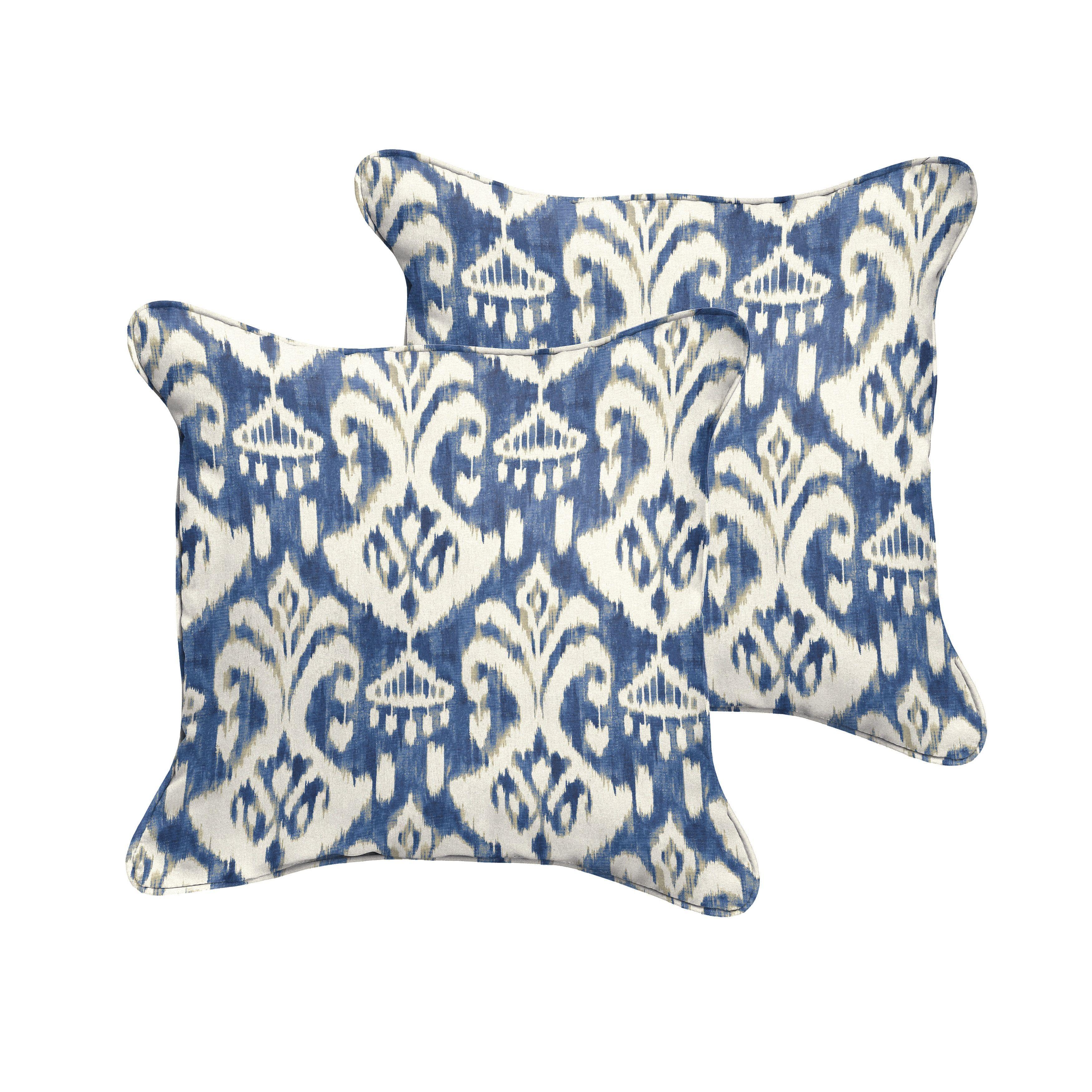 Rainford Ii Indigo Cream Indoor Outdoor Square Corded Pillow Set
