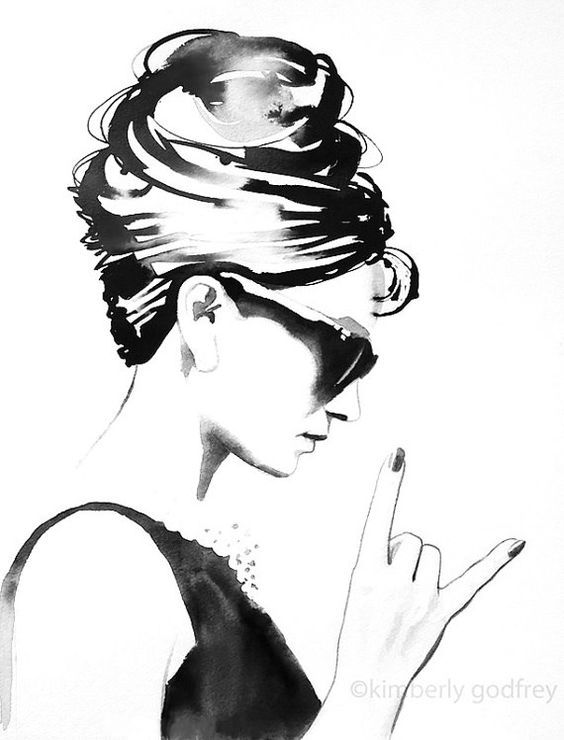 Photo of B&W Audrey Rocks Fine Art Print Fashion Illustration Vintage Black and White Style Icon Hair Salon Wall Art