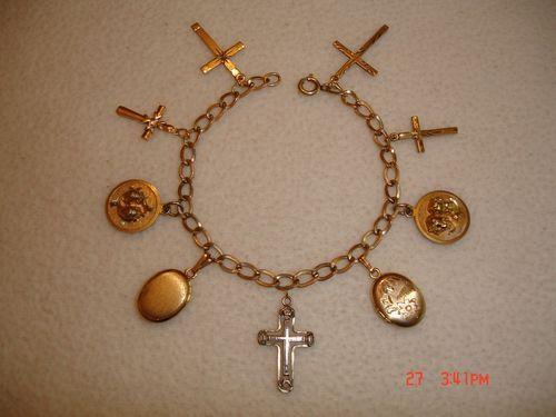 Vintage Art Deco 1 20 12K Gold Filled Charm Bracelet w Crosses Lockets Charms   eBay