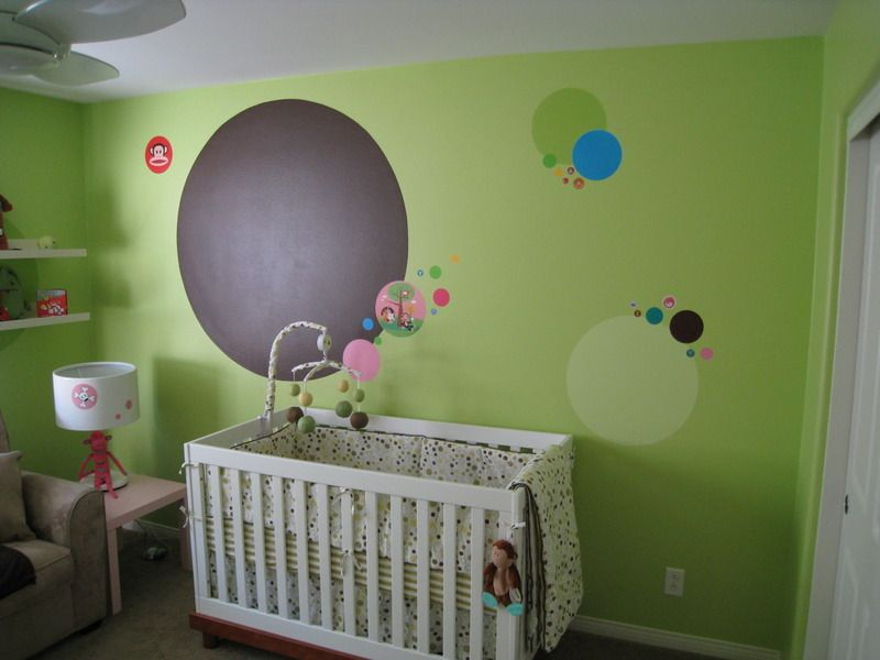 This Lime Nursery Has Fun Polka Dot Decals And Paul Frank Accessories Polkadots