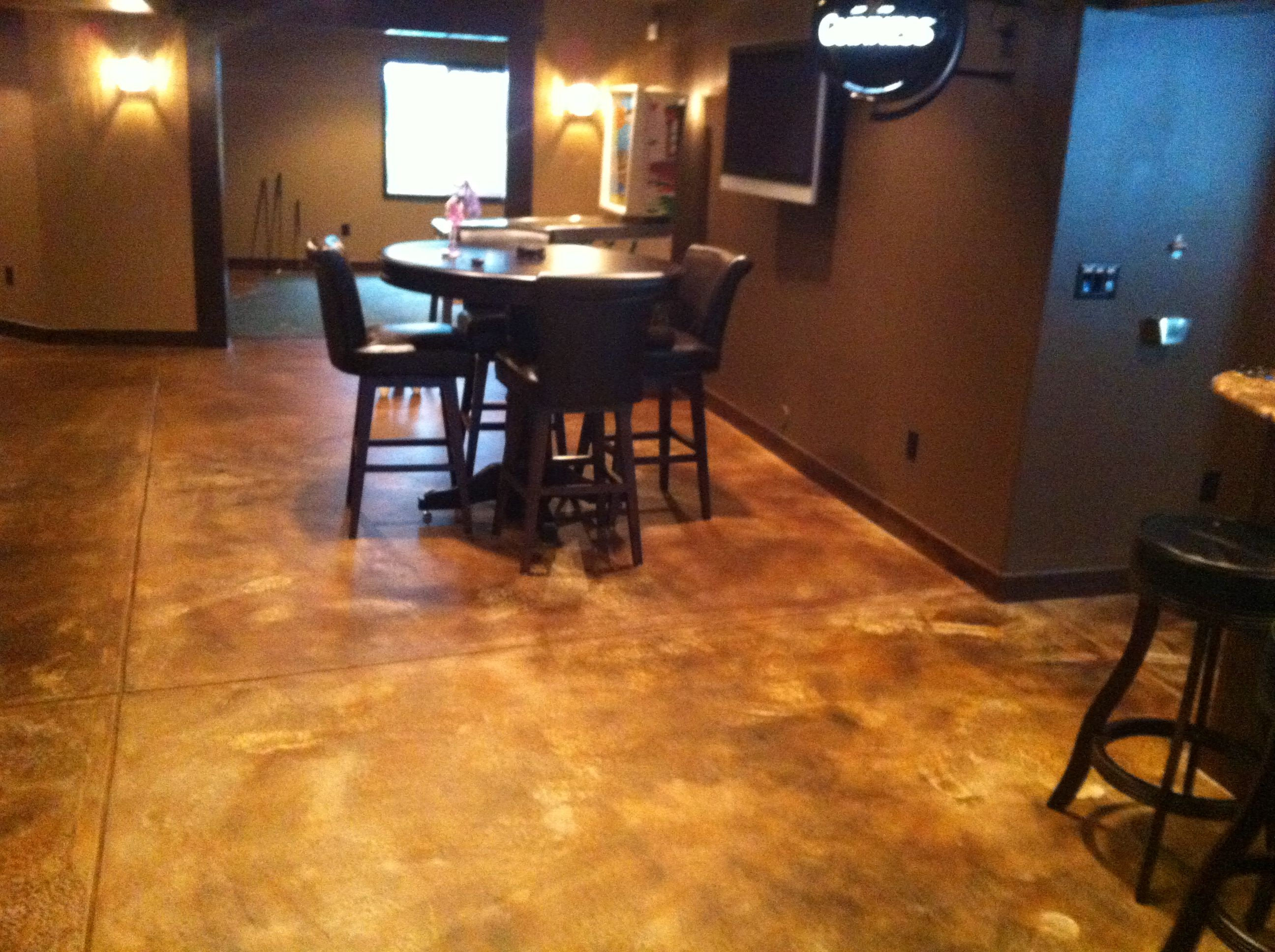 Concrete Stain Basements | Basement Floor That Has Been Acid Stained