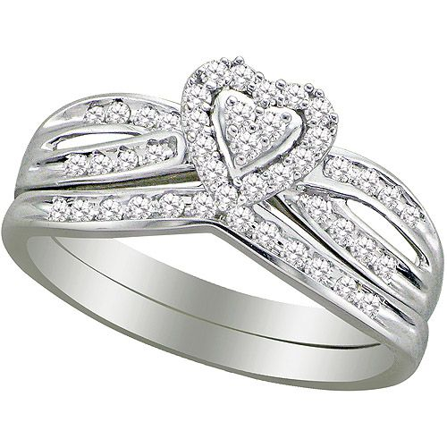 forever bride 13 carat tw diamond heart bridal set walmartcom
