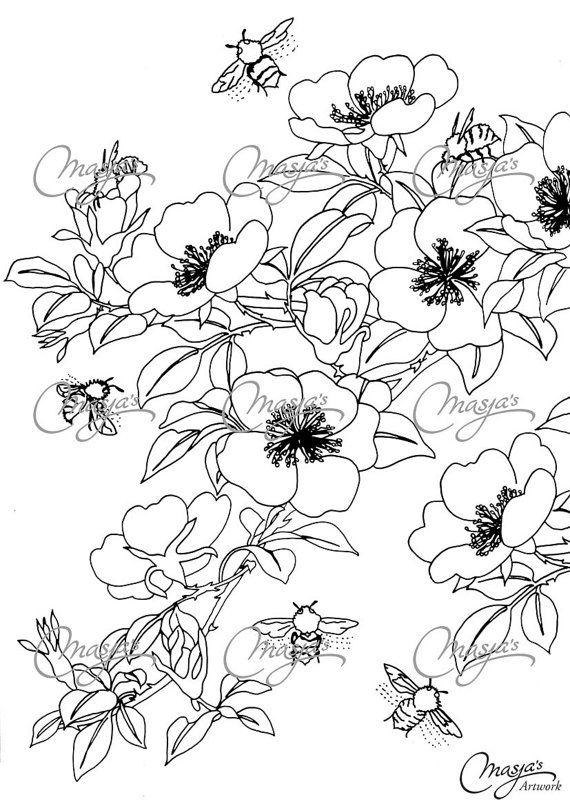Masjas Honeybees Coloring Page made by Masja van den Berg
