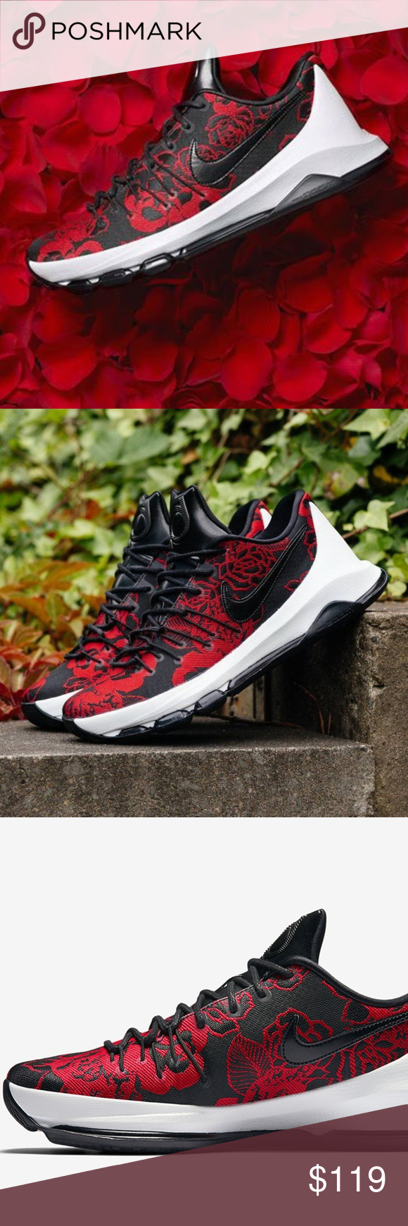 detailed look c4805 3d5c2 Nike KD 8 EXT Red Floral Mothers Day Kevin Durant Nike and Kevin Durant  send a