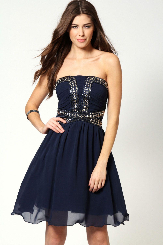 Boohoo clarissa beaded bandeau prom hip length dress ebay prom