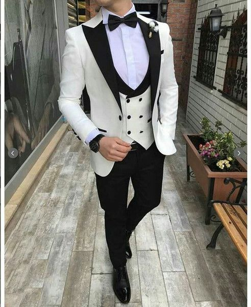 White Groom Tuxedos Mens Wedding Suits Black Peaked Lapel Man Blazer Slim Fit Male Jacket Trousers Double Breasted Vest Prom Party Black Tuxedo For Wedding Blac Black Suit Wedding Blue Suit