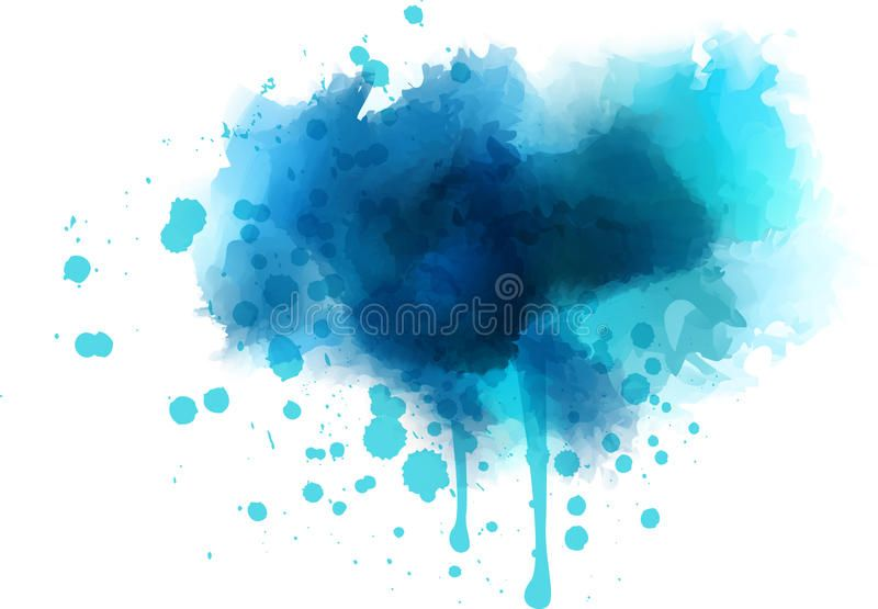 Blue Watercolor With Splashes On Watercolor Paper My Own Work In
