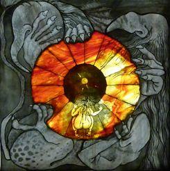 """Glaskunstwerk van Liesbeth Boon, Helleput. Te zien in nieuwe expositie """"Licht op Jeroen Bosch"""""""