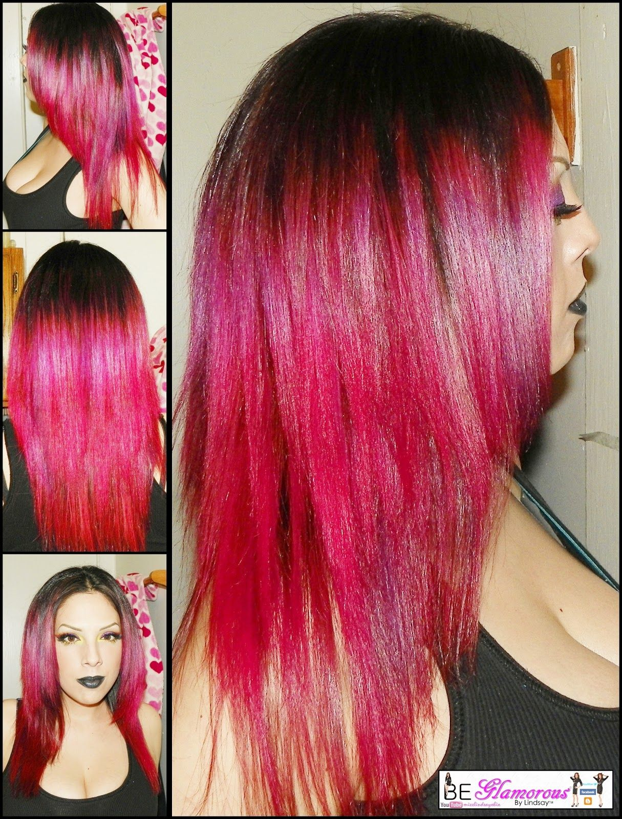 Red Ombre Hair How I Bleach Color With Splat Purple Red Ombre Hair Tutorial Purple Grey Hair Balayage Hair Purple Red Ombre Hair
