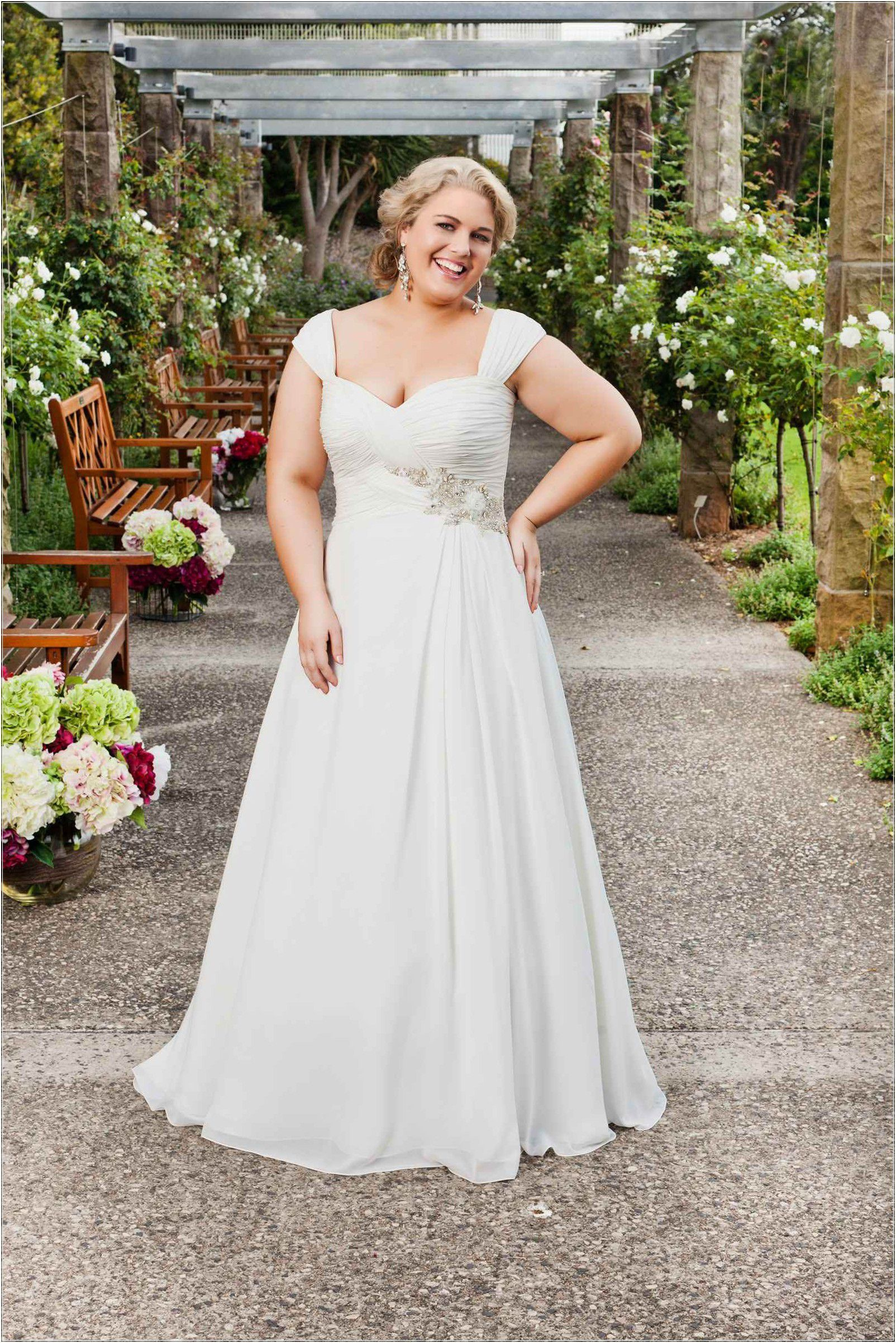 Plus Size Wedding Dresses Graceful Straps Court Train Chiffon A Line ...