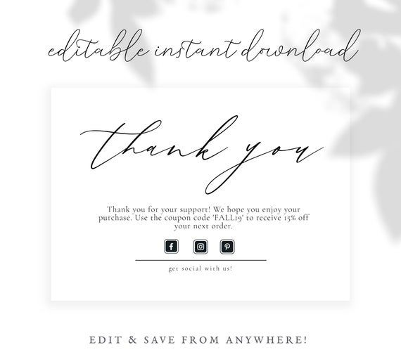 Premade Thank You Business Card Insert Template, Edit Online, Instant Download #businessthankyoucards