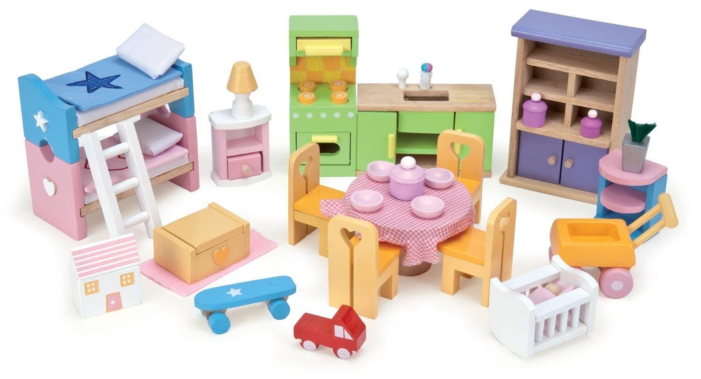 Set completo de muebles para casa de mu ecas de madera en for Muebles gundin sada