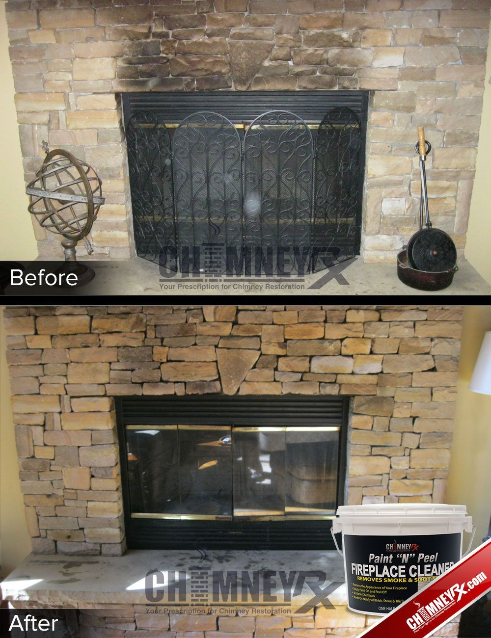 Smoke Stains On A Stone Fireplace Before And After Being Cleaned