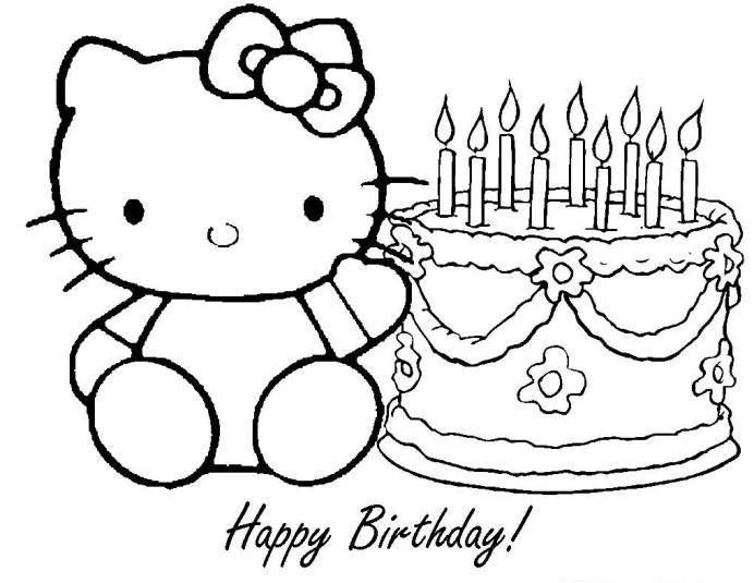 Download and Print hello kitty happy birthday coloring pages | Brico ...