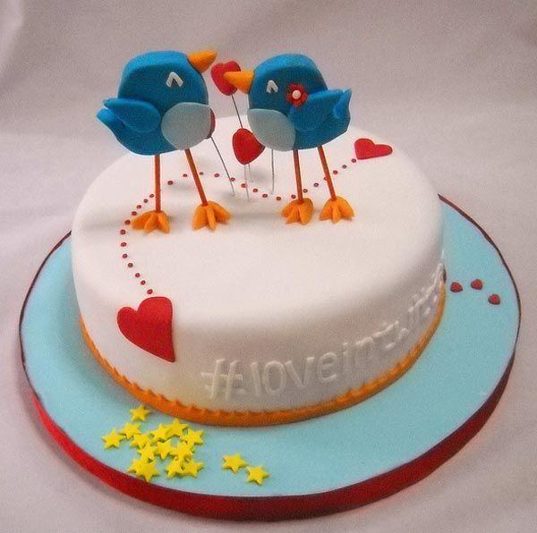 Twitter in Love Theme Cake Cake Bird cakes and Birthday cakes