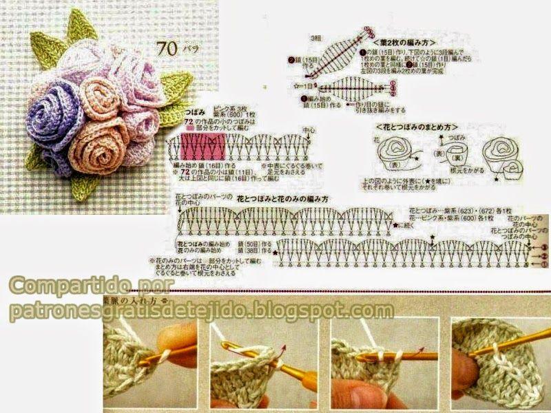 Patrones de rosas y hojas para tejer con ganchillo | Favoritos ...