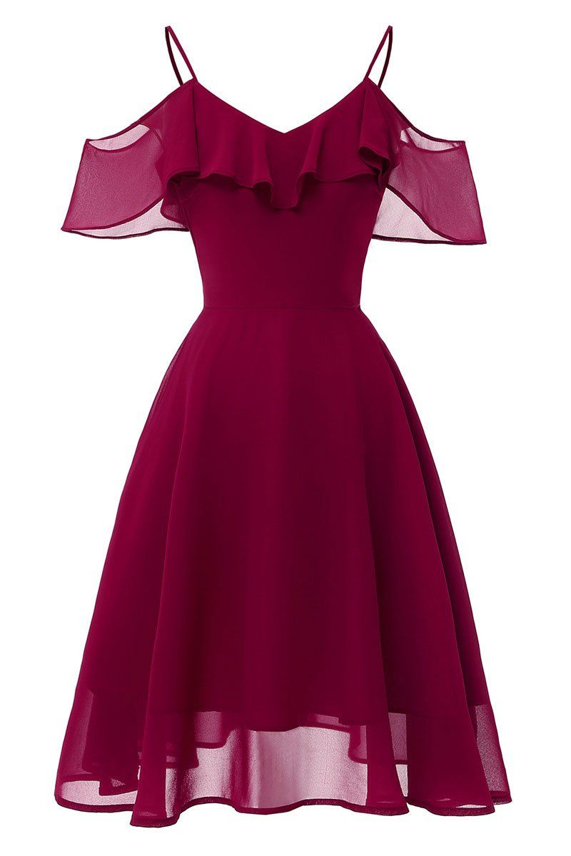 Burgund Off-the-Shoulder-Kleid mit A-Linie und Spaghettibügel
