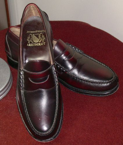 Johnston & Murphy Aristocraft Penny Loafer Moc Burgundy Dress Shoe 11 D