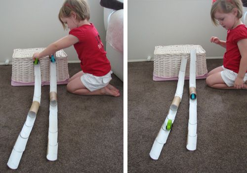 Car track or marble run from toilet paper rolls.