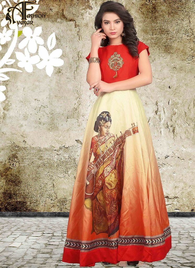 Orange Gown Online Buy India | gown | Pinterest | Gowns online ...