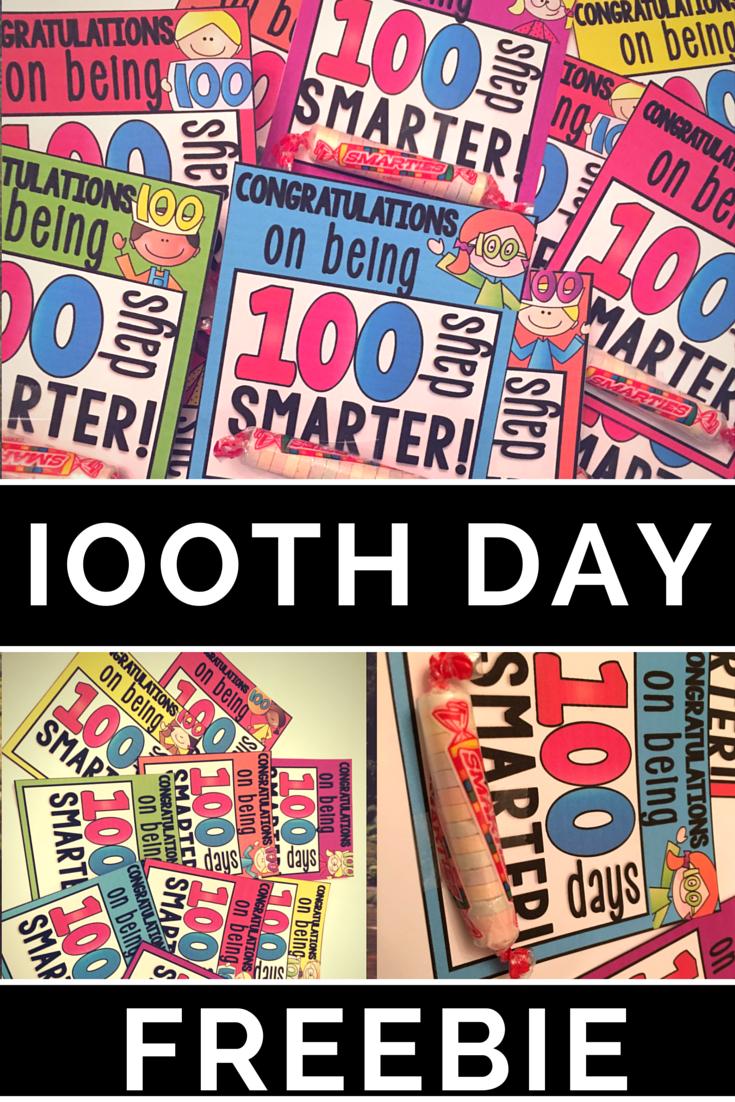 100th Day Of School Free Smartie Printable Kindergartenklub Com