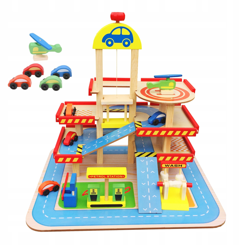 Duzy Drewniany Garaz Parking Winda Stacja Myjnia Kids Rugs Park Slide Kids