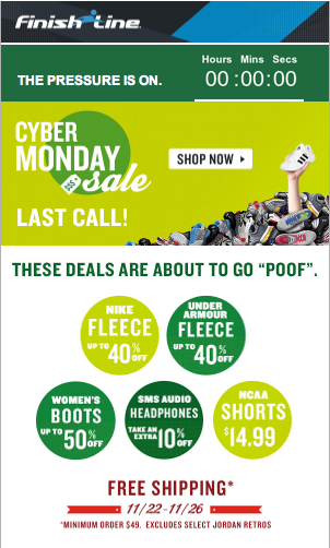 874d9056d61 Finish Line Cyber Monday sale with countdown to save.